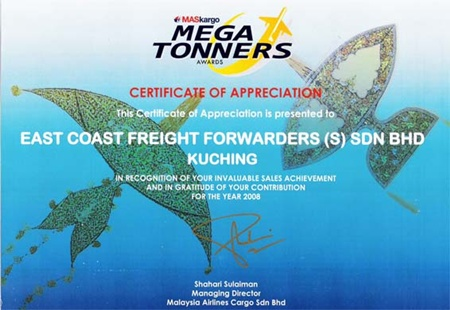 East Coast Bags 7th Consecutive  MASKargo Mega Tonners Award