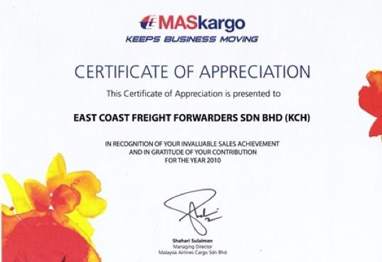 East Coast Wins MASKargo Mega Tonners Award 2010